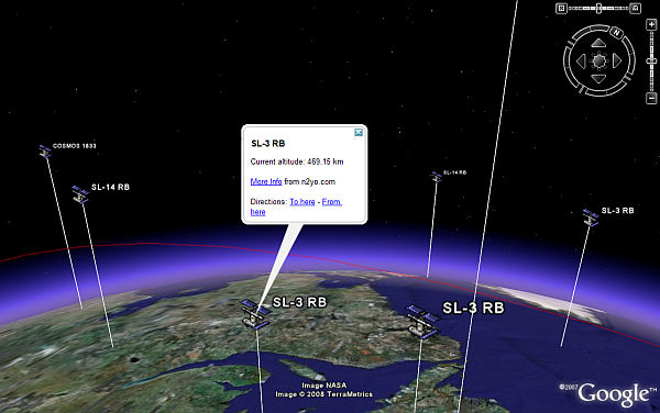 Live Orbit Tracker in Google Earth
