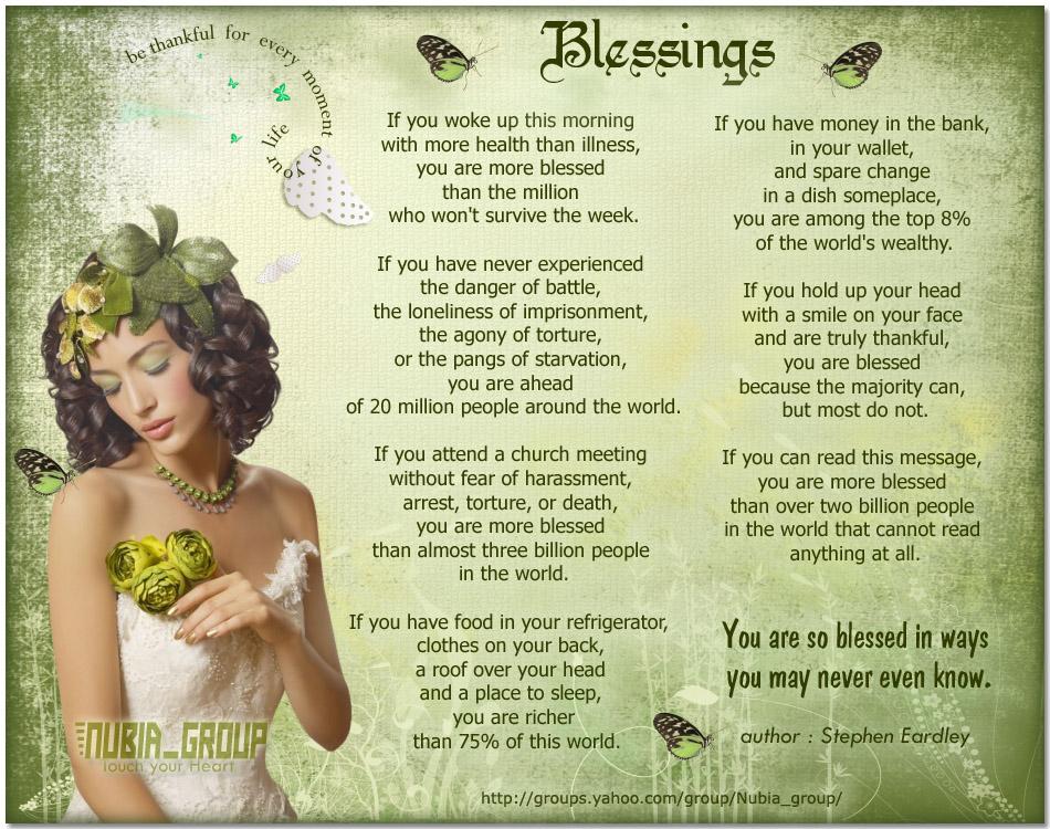 Blessings poem by Stephen Eardley