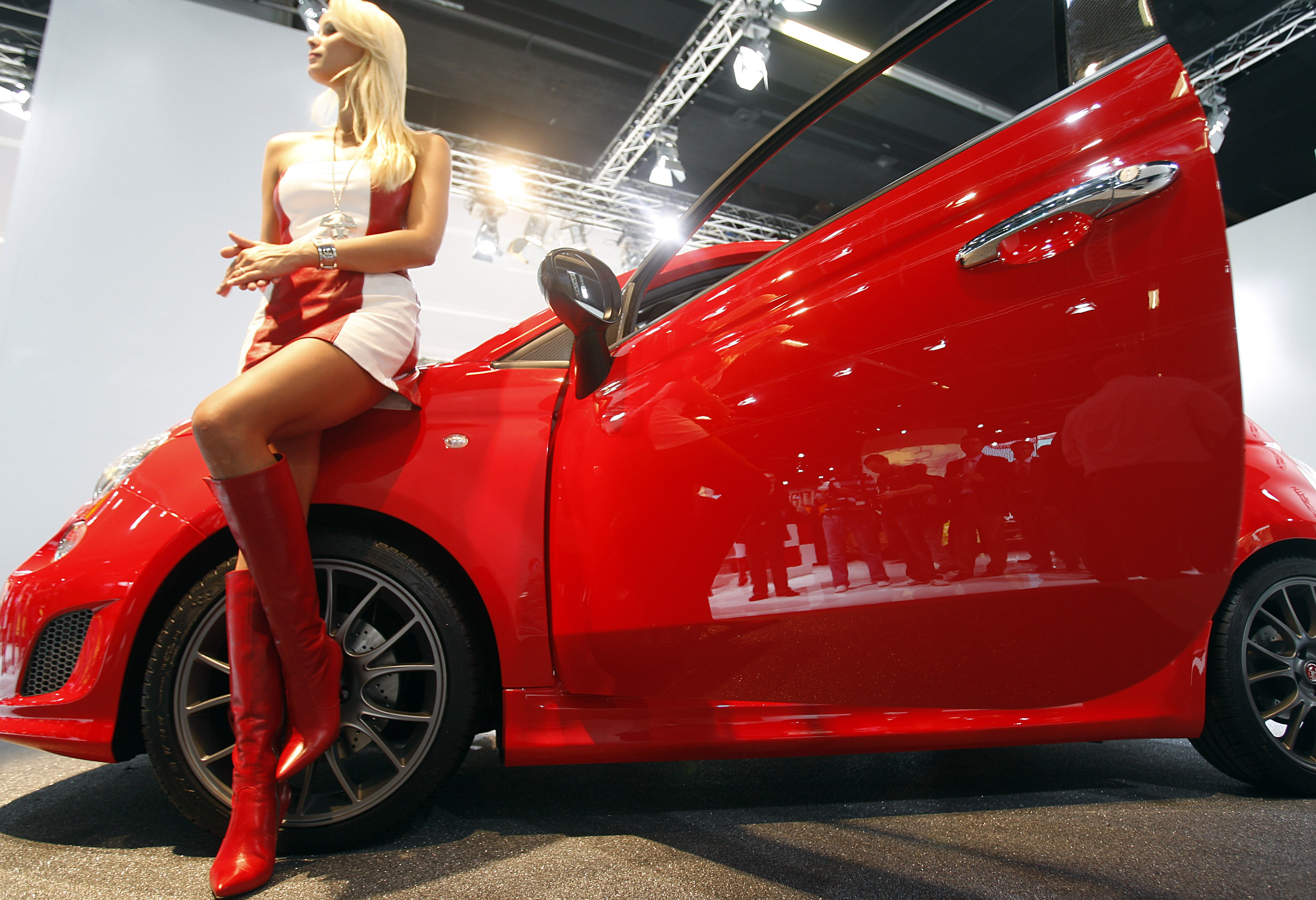 A sexy model is seen at the Abarth booth