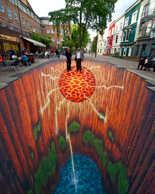 Edgar Mueller 3D Street Art - Earths Core