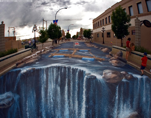 Edgar Mueller 3D Street Art - Waterfall