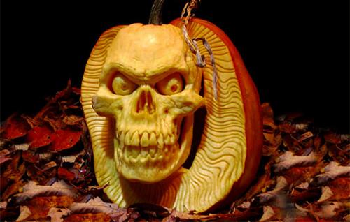 3D Skull Pumpkin Carving (image weblog.bol.com). Amazing Halloween Pumpkin Carvings