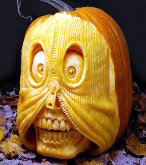pumpkin carvings for halloween Zip Skull Pumpkin Carving (image www.toxel.com)