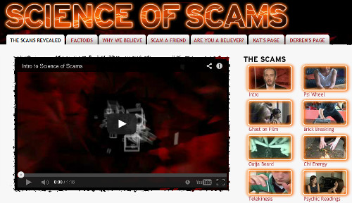 Science of Scams has been developed by a team of people on a global mission to make the world truly question the paranormal (Image: www.scienceofscams.com)