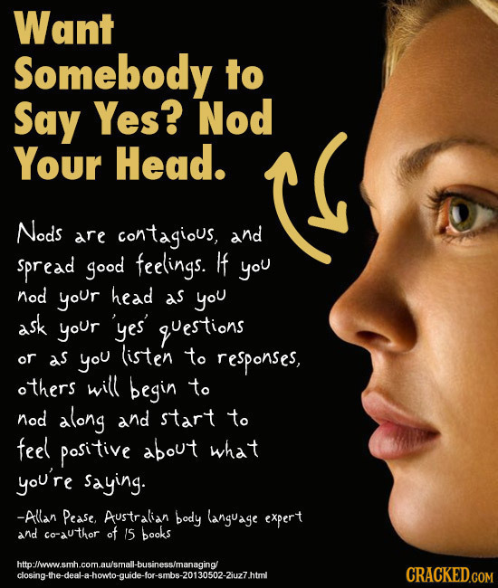 Influencing People Using Body Language - Nod your head (image: AuntieMeme)